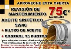 REVISION DE MANTENIMIENTO, PARA TODAS LAS MARCAS DIESEL O GASOLINA, POR 75 EUROS IVA INCLUIDO.