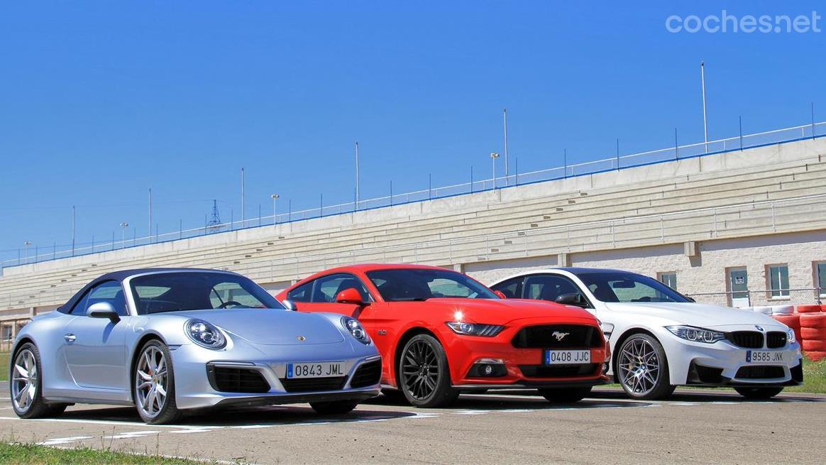BMW M4, Ford Mustang y Porsche 911