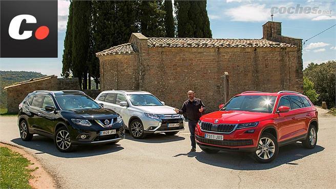 Skoda Kodiaq, Mitsubishi Outlander y Nissan X-Trail: Tres SUV de 7 plazas